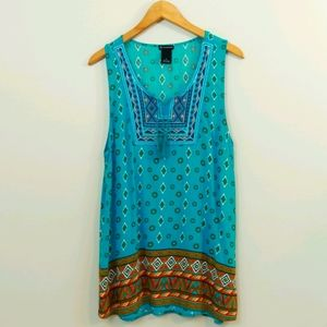 New Directions Printed Embroidered Top